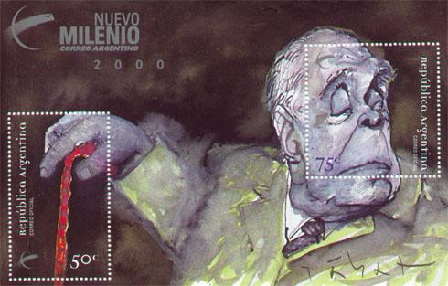 Sello argentino en memoria de Jorge Luis Borges 1899-1986