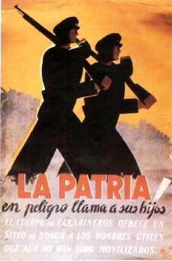 España. La Patria en peligro llama a sus hijos. El Cuerpo de Carabineros ofrece un sitio de honor a los hombres útiles que aún no han sido movilizados