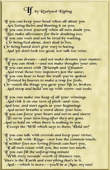 On if by rudyard kipling and